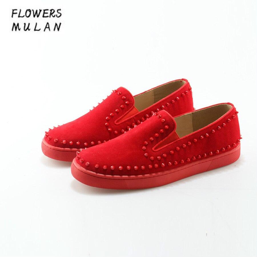 Mens Camurça Flats Rebites Do Popular Slip Redondo Sapatos Casuais Estilo Mão Dedo Calçado Feito Pé De À Moda Vermelha Homens on Hot Das Sapatilhas xwUqYOtZ8v
