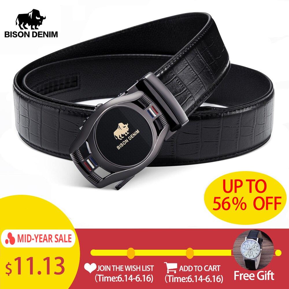 BISON DENIM Brand Fashion Men   Belt   Automatic Buckle Genuine Leather   Belt   Men's   Belts   Cow Leather   Belts   for Men N71446
