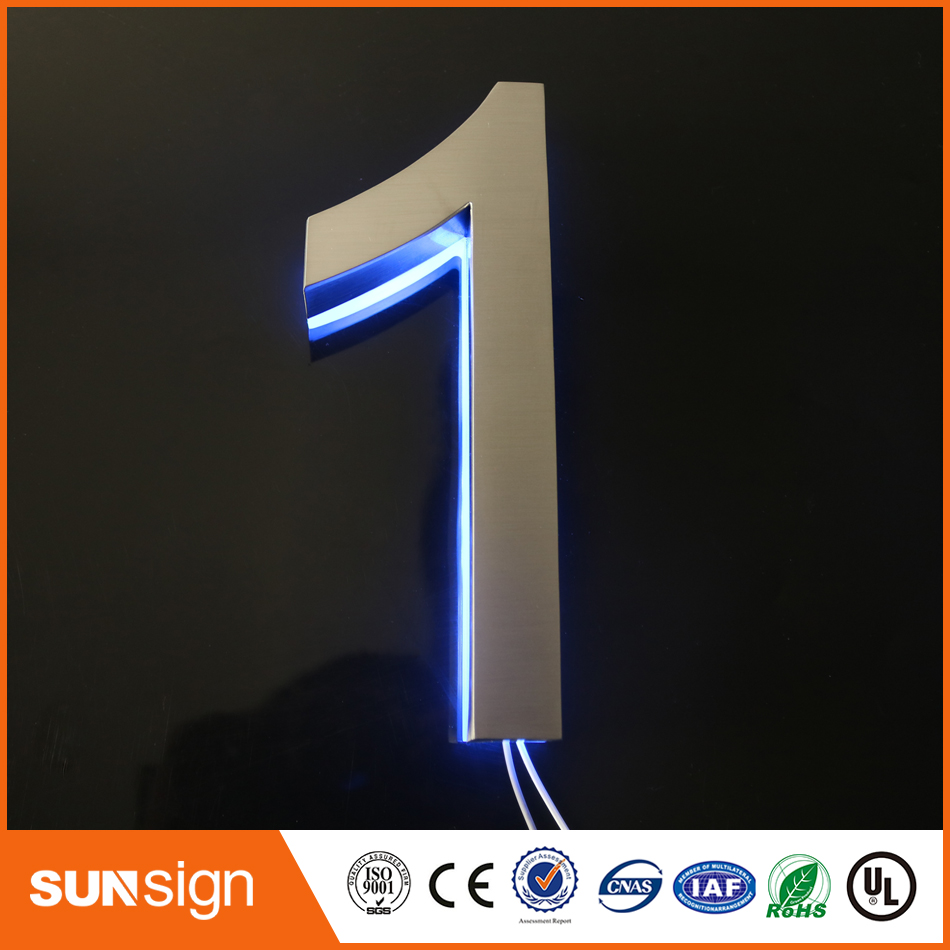 Custom Hotel Digital Number Doorplate Brushed Stainless Steel Plated H10cm