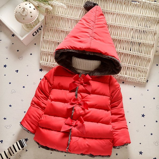 Baby Girl Clothes Autumn Winter Korean Kid Hooded Jackets Cotton Coat Warm Thick Pure Bowknot Outerwear Children Infant Clothing