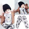 Cute Newborn Baby Girl Clothes Teddy Bear Top T-shirt pant Baby Clothes Set Baby Clothing Set