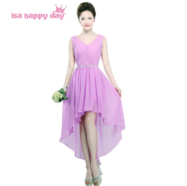 Online Shop women party elegant lavender chiffon v neck formal dress ...