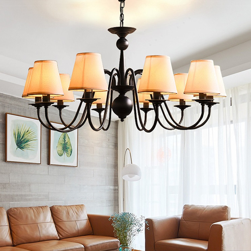Us 74 06 31 Off Viintage Chandelier Kitchen Dining Room Bedroom Wrought Iron Black Color Re Suspension With Lamp Shade In