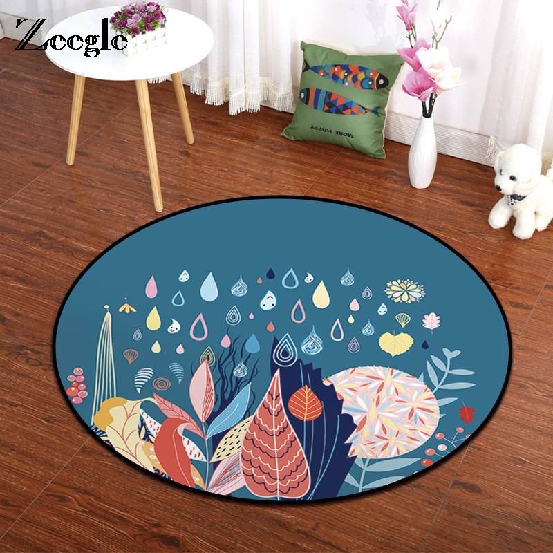 Zeegle Round Carpet Cartoon Floor Mat Kids Bedroom Carpet For Living Room Non-slip Kitchen Carpet Chair Besides Area Rug
