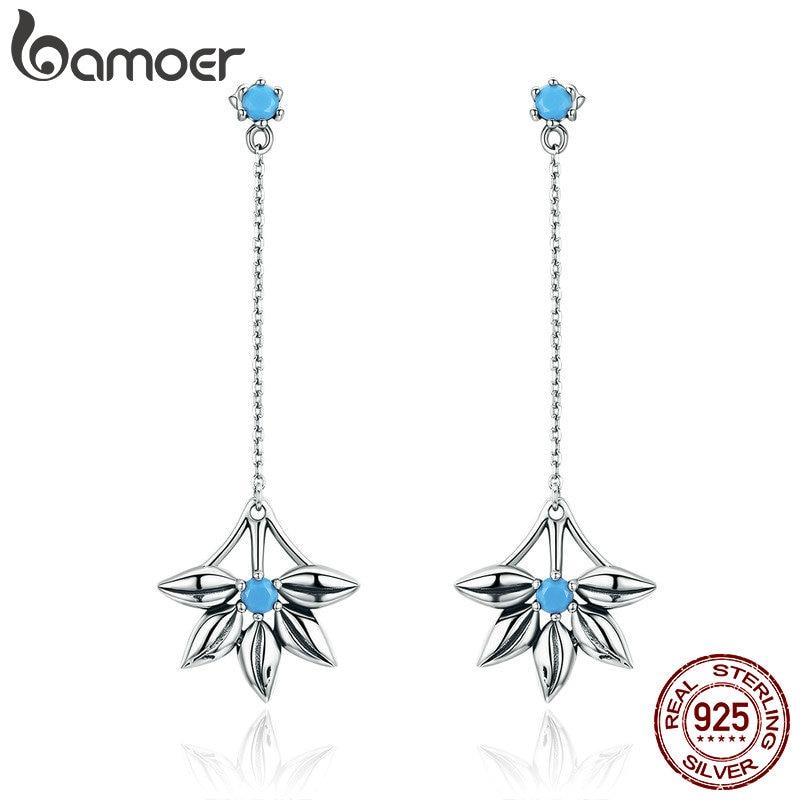 BAMOER 100% 925 Sterling Silver Daisy Flower Long Tassel Drop Earrings for Women Fashion Vintage Earrings Jewelry Brincos SCE279 все цены