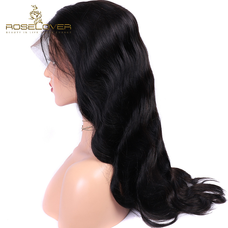 ROSELOVER Brazilian Body Wave 360 Lace Frontal Wig Pre Plucked Lace Front Human Hair Wigs For Black Women With Baby Hair