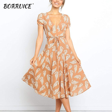 BORRUICE 2019 Casual Women V Neck Leaves Print Midi Dress Short Sleeve Lace Up Mid-Calf Dresses Ladies Summer vestidos