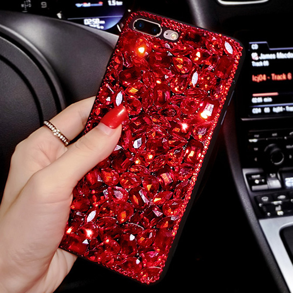 Sunjolly Red Diamond Case Rhinestone Phone Cover For IPhone X 8 8 Plus 7 7 Plus