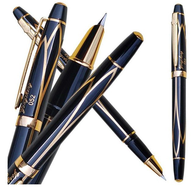 1 piece Fountain Pen WingSung 052  Black Gold Extra Fine Hooded Nib  standard pen office and school stationery FREE  SHIPPING 8pcs lot wholesale fountain pen black m 14 k solid gold nib or rollerball pen picasso 89 big executive stationery free shipping