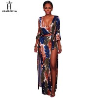 Hambelela Latex Women Clothing Fashion 2017 Deep V Neck Flare Sleeve Feather Prints Maxi Romper Jumpsuit