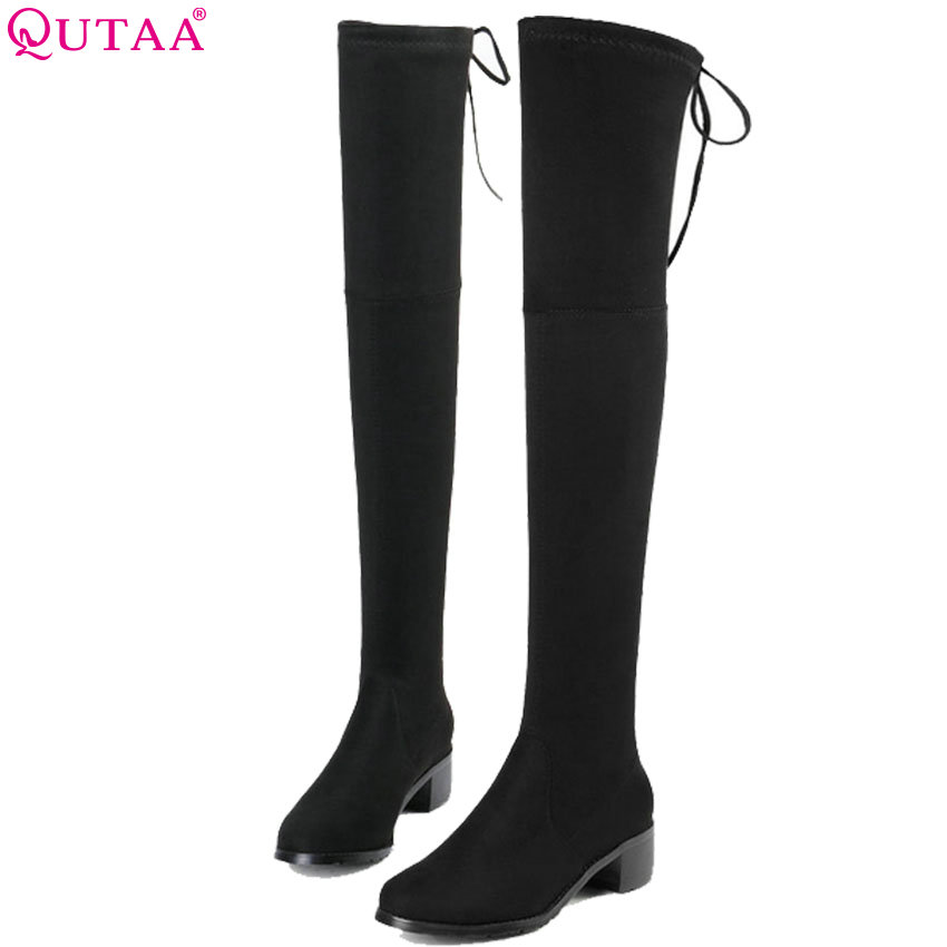 QUTAA 2019 Women Over The Knee High Boots High Quality Fashion Winter Shoes Platform All Match Sexy Women Boots Big Size 34-43 memunia big size 34 43 over the knee boots for women fashion shoes woman party pu platform boots zip high heels boots female