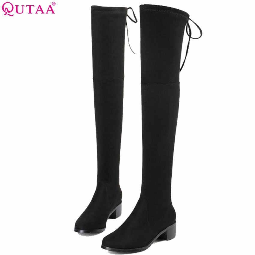 QUTAA 2020 Frauen Über Das Knie Hohe Stiefel Hohe Qualität Mode Winter Schuhe Plattform Alle Match Sexy Frauen Stiefel Große größe 34-43