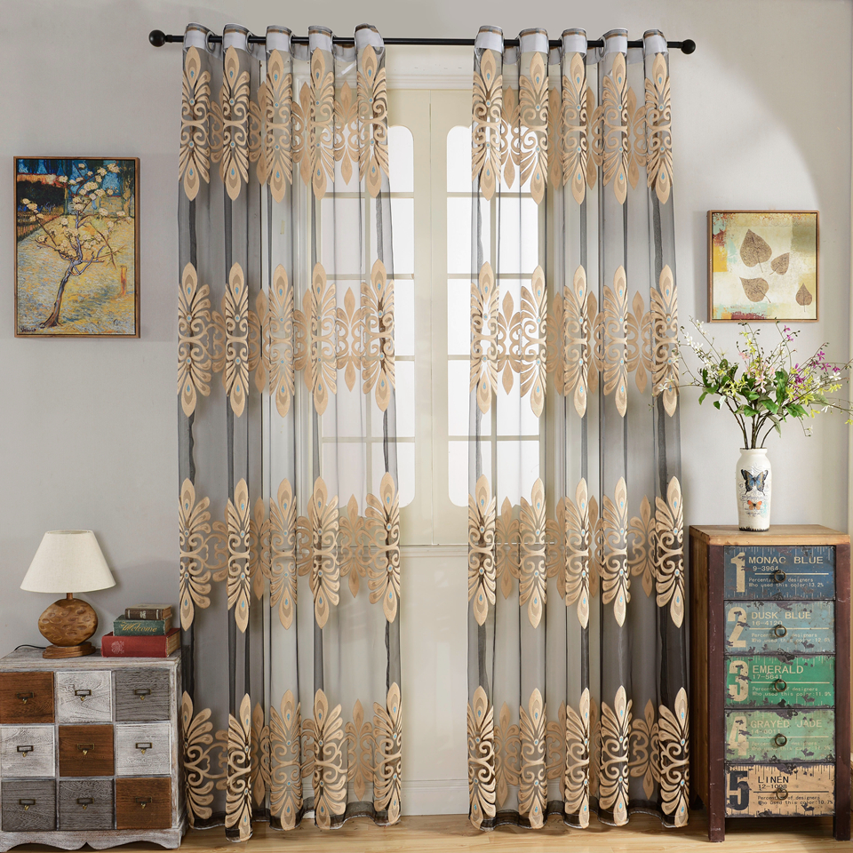 Curtains living room bedroom customize ready voile jacquard tulle punching hooks curtain