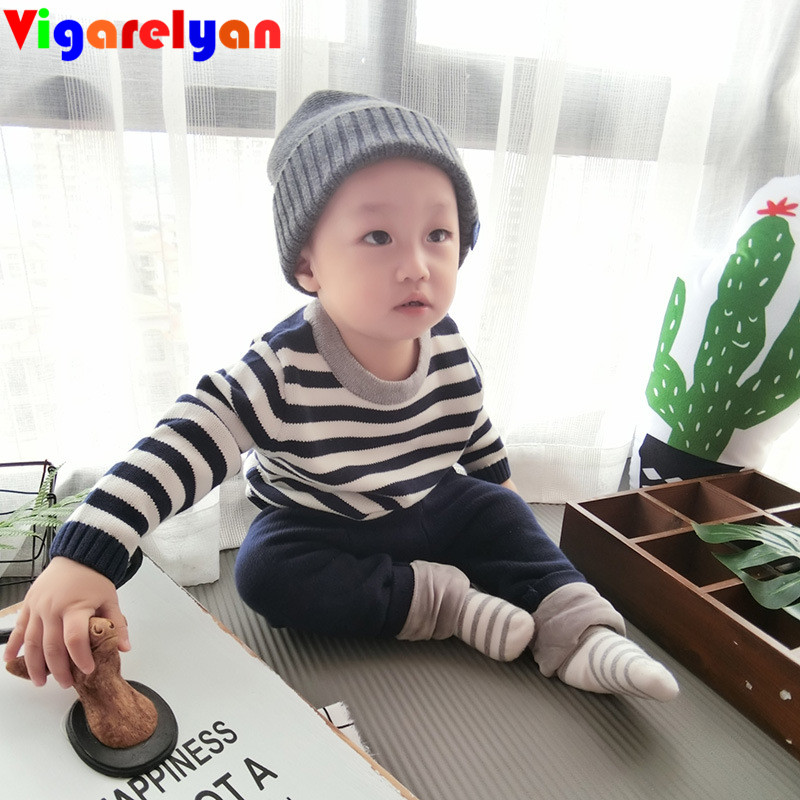 Baby Girl knit Striped sweater+Velvet Pants Sets Autumn Children Clothes Boys Long Sleeve Pullover T-shirts+Velivet Trousers Set