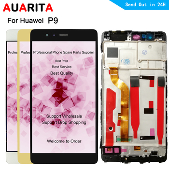 LCD For Huawei P 9 P9 EVA L09 L19 LCD Display Touch panel Screen front glass with frame digitizer Assembly Repair Part 5.2 inch
