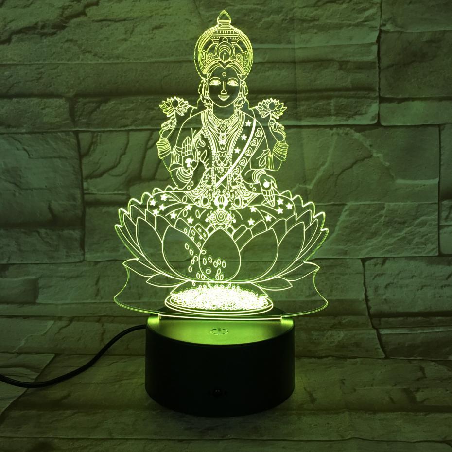 Hinduism Visnu Figure USB 3d Led Night Light Religion Believer Decorative Lights RGB Mom Mother Gift Desk Lamp Bedroom