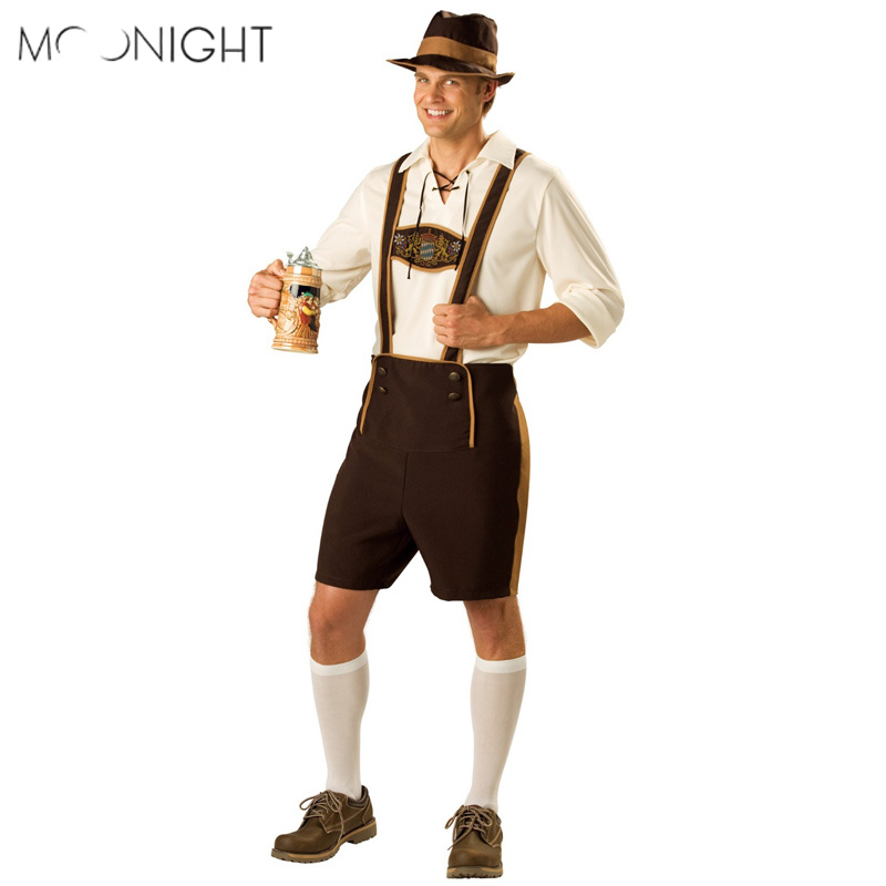 MOONIGHT Oktoberfest Costume Bavarian German Beer Men Festival Beer Cosplay Halloween For Men With Top+Romper+Hat  M L XL 2XL