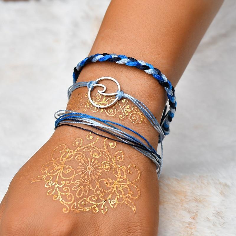2018 Fashion 3pcs/set Multi-layer Boho Summer Beach Surf Bracelets Handmade Adjustable Wave Bracelets Jewelry