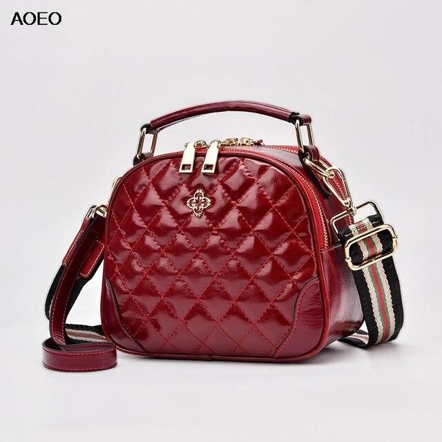 AOEO Fashion Large Capacity Handbags Women Shoulder Bag Ladies Diamond Lattice Split Leather Girl Crossobdy Messenger Bag Female 1