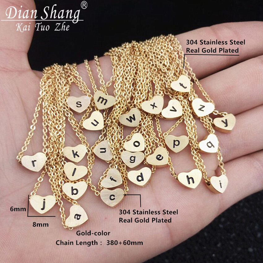ICFTZWE Gold Colour Heart Silver Bijoux Chain a b c d e f g h i j k l m n o p q r s t u v w x y z Statement Necklace For Women