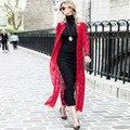 2016 Nova Queda de Estilo Laço Vermelho Fino Casaco de Trincheira Estilo Chinês Botão Embelezar Plus Size Casaco