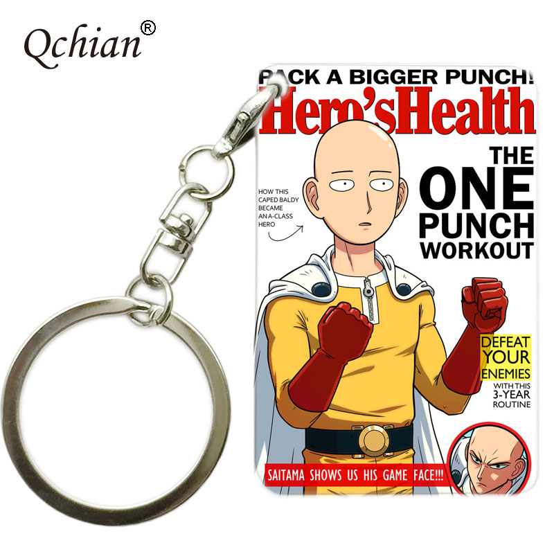 Anime One Punch Man Print Keychian Saitama tatsumaki Print Key Chians Ring Holder for Men Gift