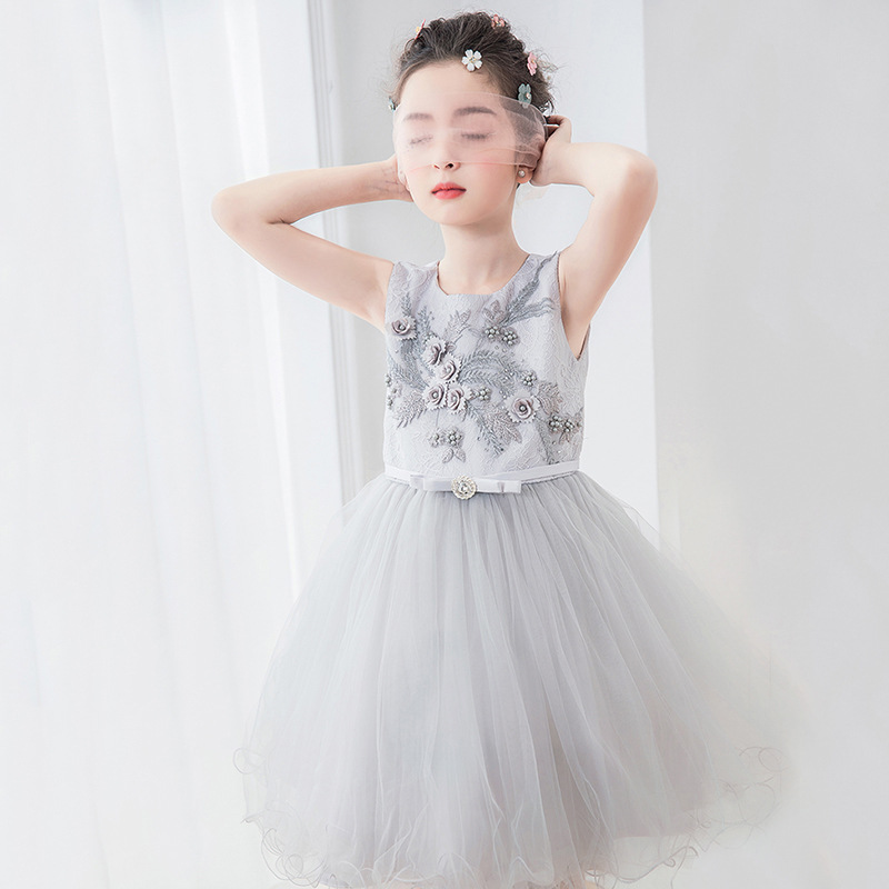 Cute Girls Wedding Gown Summer Teenage Girl Party Costume For Kids Clothes Children's Clothing Beading Prom Ceremony Dress S104 a15 fancy lace girls wedding gown summer teenage girls party costume for kids clothes children clothing girl prom ceremony dress
