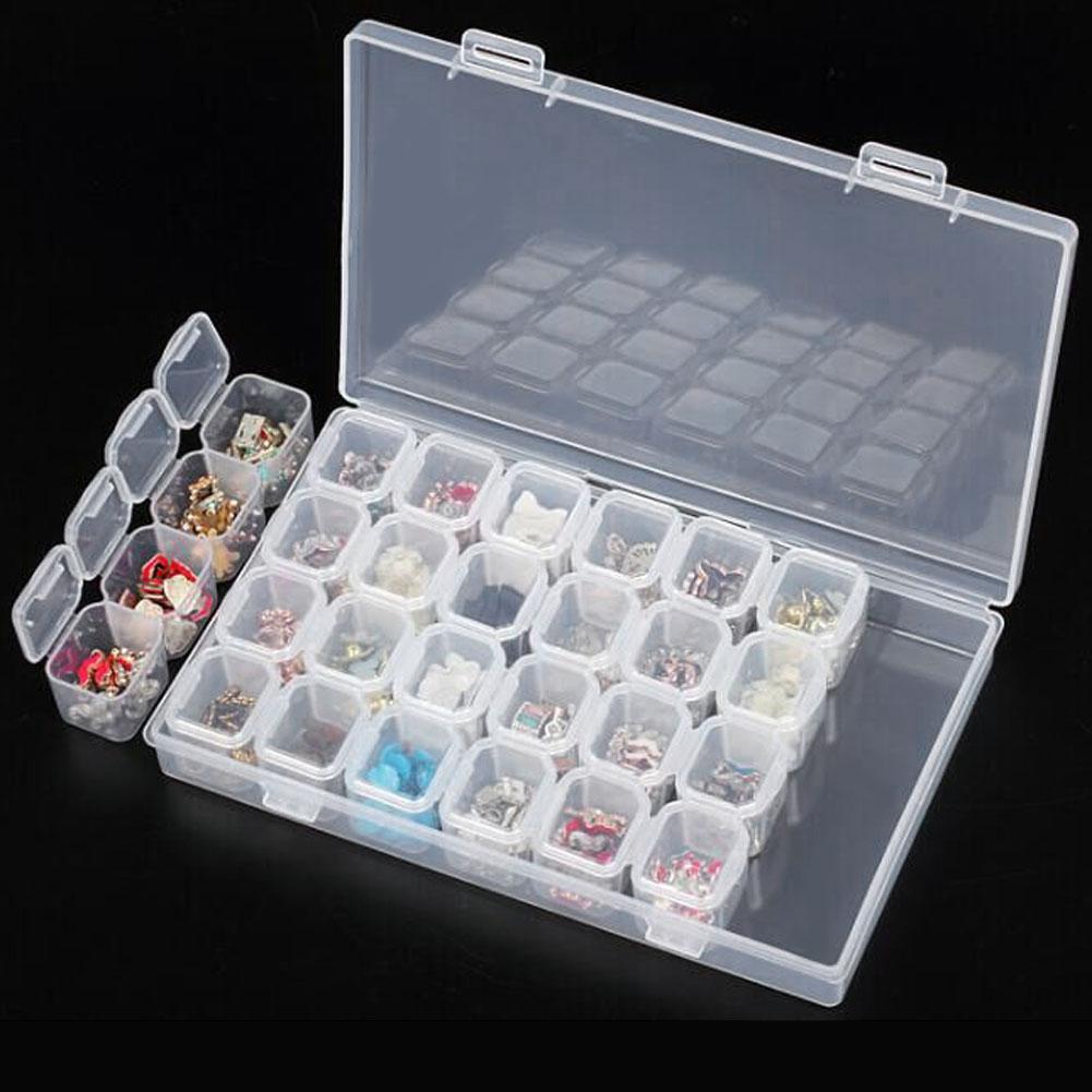 Professionell Clear Plast 28 Slots Rhinestone Nail Art Verktyg Dekoration Smycken Pärlor Visa Förvaringslåda Fodral Organizer Holder