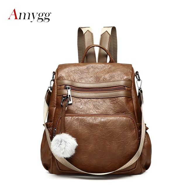 ffa30718b0 Fashion Vintage Anti-theft Leather Backpacks Shoulder Bag Brand Mochila Women  Pleated Casual Soft Leather Feminine Backpack