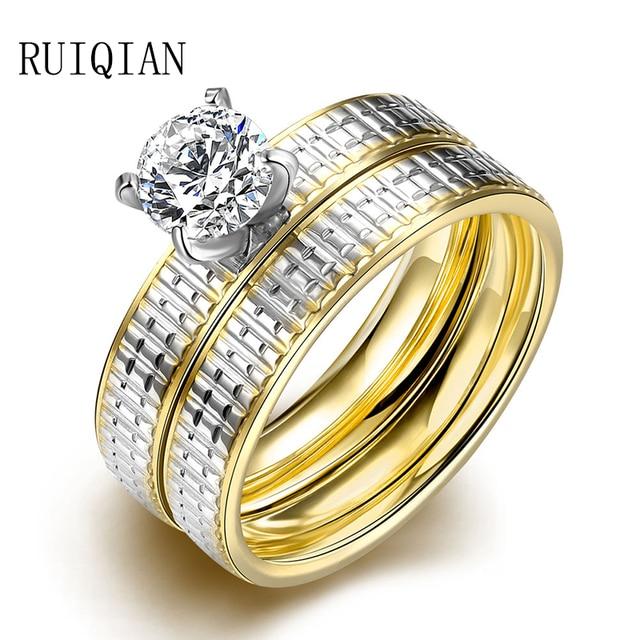2 PCS Moda de Luxo Anel de Titânio Ampla Aliança de Casamento Ouro Amarelo  Zircão Chapeado d67038c092