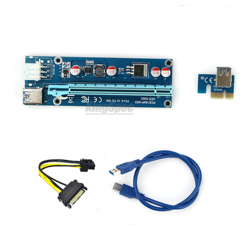 30cm/60cm USB 3.0 PCIe 1x to 16x PCI Express Extender Riser Card with SATA 15pin to 6pin power cable  for bitcoin mining BTC