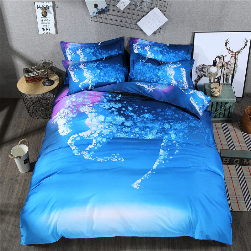 3d Galaxy Bedding Blue Color White Horse Printed Duvet