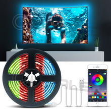 TV Led Strip lights APP RGB Color Changeable for 40-60 inch HDTV 6.6ft USB Powered 5V LED with RF Remote,TV Backlight Kit