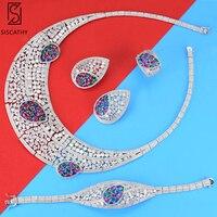 Роскошные свадебные комплекты ювелирных изделий большой воротник ожерелье серьги браслет Изменение размера кольцо Модные Ювелирные набор
