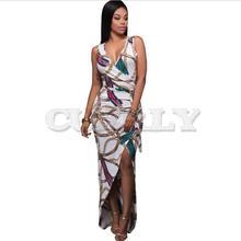 Cuerly New Robe Bandage Summer Dress Women Dresses Runway 2019 High Quality Fashion Luxury Printed Sexy V-neck Split Femme