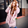 Originais Da Marca 2016 das Mulheres Jaqueta de Inverno Quente Plus Size Luz rosa Fino Moda Elegante Real Fox Gola De Pele Para Baixo Casaco atacado