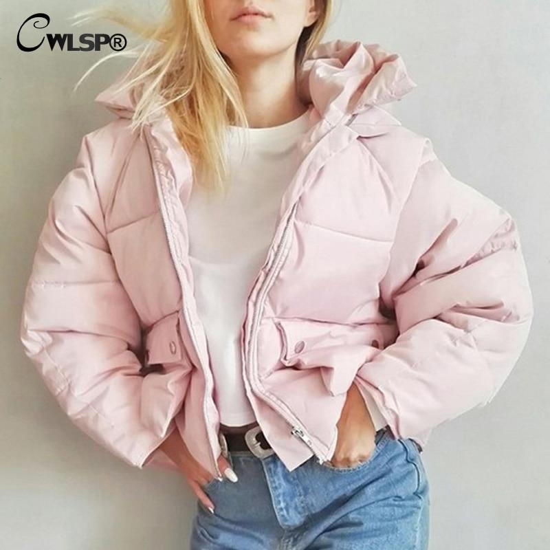 CWLSP Winter Coat Women Hooded Warm Casual Loose Zipper Up Outwear Women Bat Sleeve parka winter jacket coat QL3321