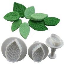 3 Pc/Set 3D Rose Leaf Leaves Cookie Plunger Cutter Fondant Sugarcraft Mold Cake Decoration Mould Baking Tools