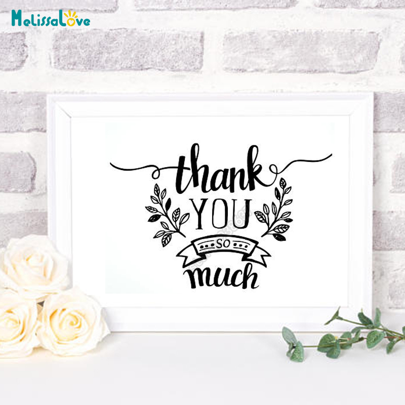 US $6.26 25% OFF|New Design Wedding Sticker Thank You So Much Reception  Sign Thank Phrase Quotes Decal Party Decor Living Room B634-in Wall  Stickers ...