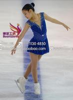 blue competition skating dresses custom ice figure skating dress blue free shipping figure skating clothing