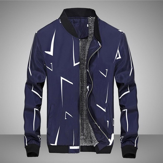 Uwback 2017 New Arrival Casual Jackets Men Plus Size Thick Liner Geometric Pattern Spring Jacket Stand Collar Slim Coats CAA449