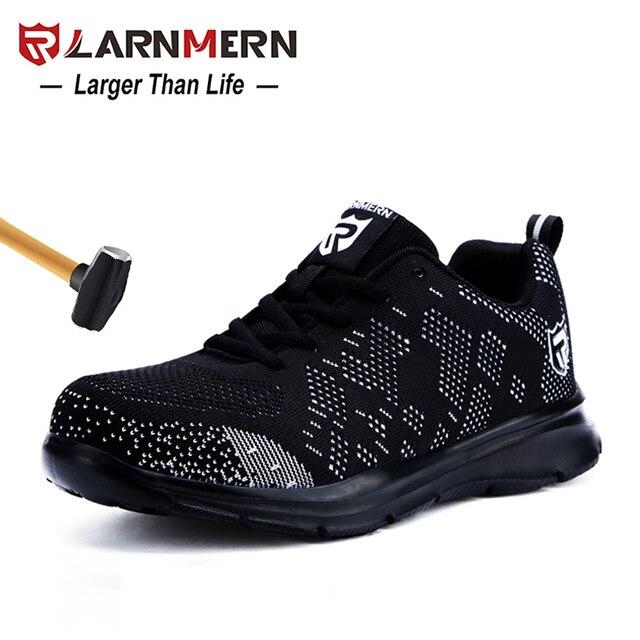 LARNMERN Mens Toe Thép Giày Làm Việc An Toàn Trọng Lượng Nhẹ Thoáng Khí Chống-Chống đập Chống đâm thủng Phản Quang Giản Dị Sneaker