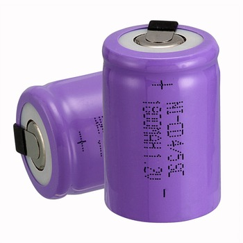 new arrival 2 PCS Ni-Cd 4/5 SubC Sub C battery Rechargeable Battery 1.2V 1800mAh with purple Tab 3.3cm x 2.2cm image