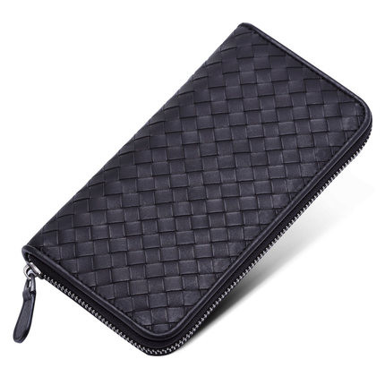 ФОТО new calfskin wallet genuine leather bag Zipper Purse male ladies knitting wallets