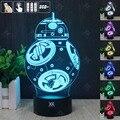 STAR WARS Nueva BB-8 RGB Cambiable Lámpara de estado de Ánimo de Luz Nocturna en 3D LED decorativa lámpara de mesa de luz dc 5 v usb conseguir un free control remoto