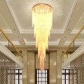 Новый дизайн длинная Современная хрустальная люстра Светодиодная лампа 5 слоев Роскошные лобби люстры для отеля