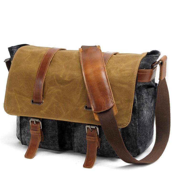 81e3094c8d1 Unisex Retro vintageNew Canvas with Leather women crazy horse messenger  bags Men Crossbody Bag shoulder bag duffel bags