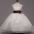 Summer Princess Girls Dress fashion Polka Dot style Rose Applique Kids Baby girls dresses for 3-8Y Girl clothing vestidos