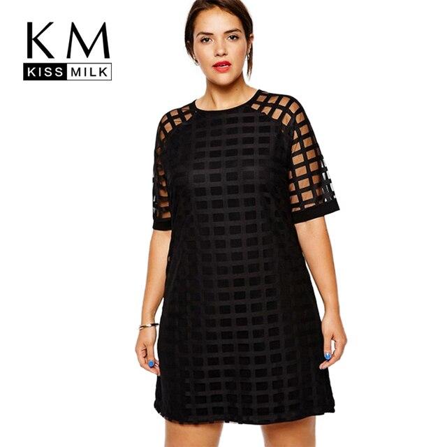 Kissmilk Plus Size Fashion Women Clothing Casual Solid Plaids OL Style Perspective Patchwork Big Size Dress 5XL 6XL vestidos