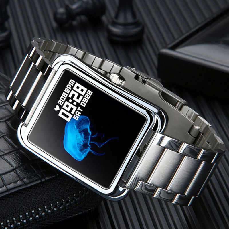 Stainless steel smartwatch heart rate blood pressure check Bluetooth bracelet phone reminder smart watch waterproof wristband